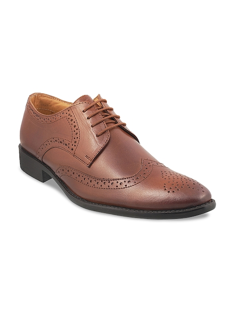 Mochi Men Tan Brown Formal Leather Brogues