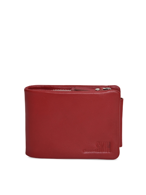 Second SKIN Men Maroon Solid Genuine Leather Three Fold Wallet