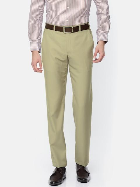 Park Avenue Men Beige Super Slim Fit Solid Formal Trousers
