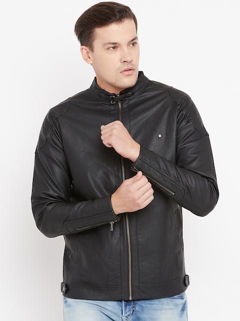 Peter England Men Black Solid Biker Jacket