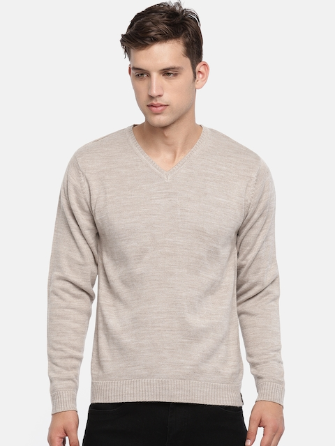 Peter England Men Beige Solid Pullover