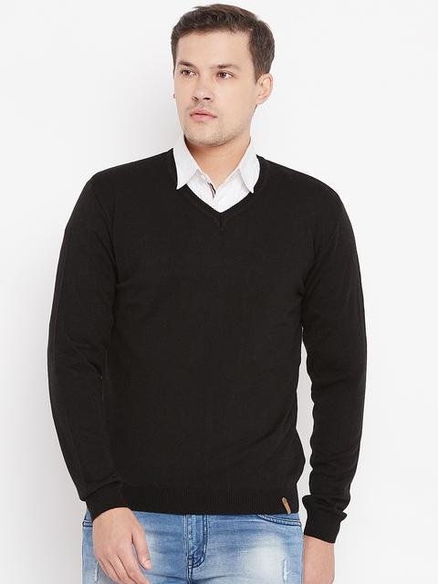 Peter England Men Black Solid Sweater