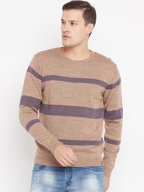 Peter England Men Beige & Grey Striped Sweater