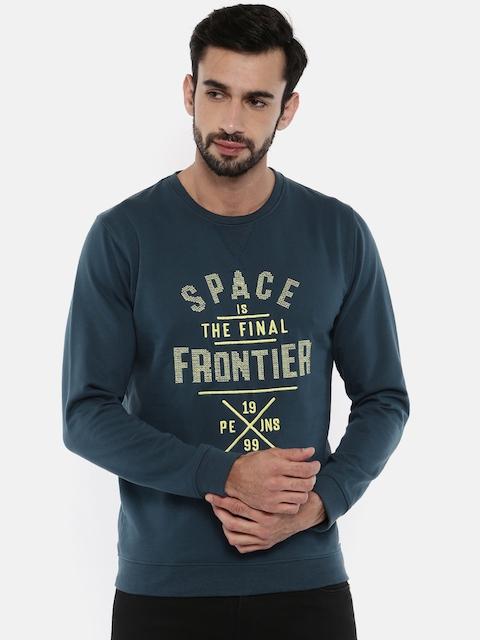 Peter England Men Blue Self-Design Sweatshirt