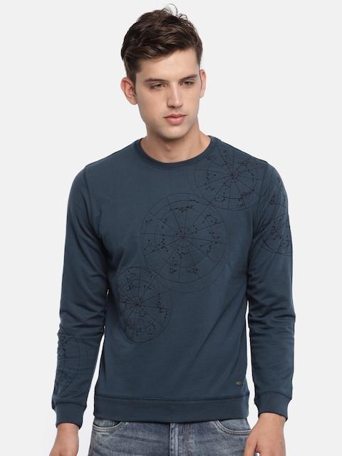 Peter England Men Blue Self Design Sweatshirt
