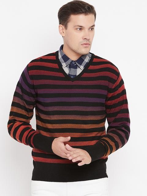 Peter England Men Black & Orange Striped Sweater