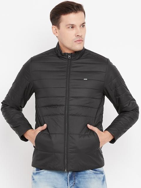 Peter England Men Black Solid Padded Jacket