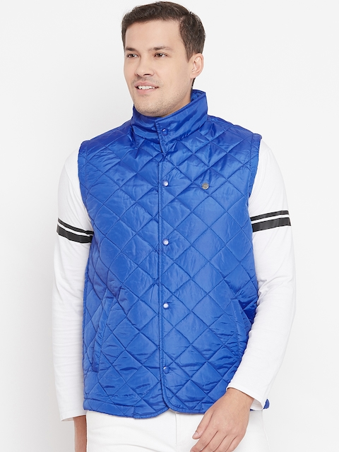 Peter England Casuals Men Blue Solid Quilted Jacket