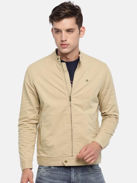 Peter England Men Beige Solid Tailored Jacket