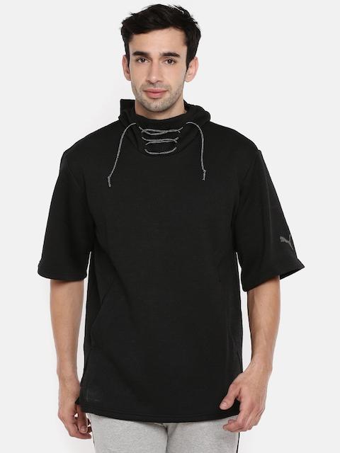 Puma Men Black Solid N.R.G. SS Hooded Sweatshirt