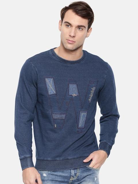Wrangler Men Blue Self Design Sweatshirt