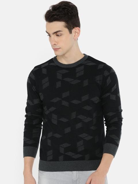 Wrangler Men Black & Grey Melange Self Design Pullover