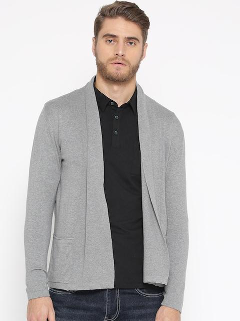 Wrangler Men Grey Solid Front-Open Shrug