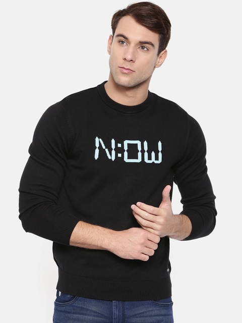 Wrangler Men Black Printed Pullover Sweater