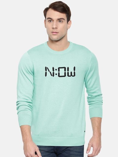 Wrangler Men Blue Printed Pullover Sweater