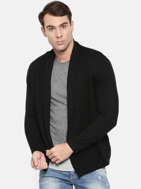 Wrangler Men Black Solid Front-Open Sweater