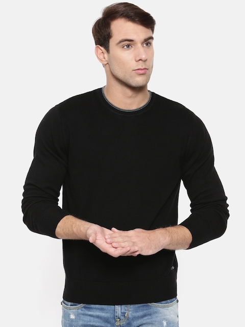 Wrangler Men Black Solid Pullover Sweater