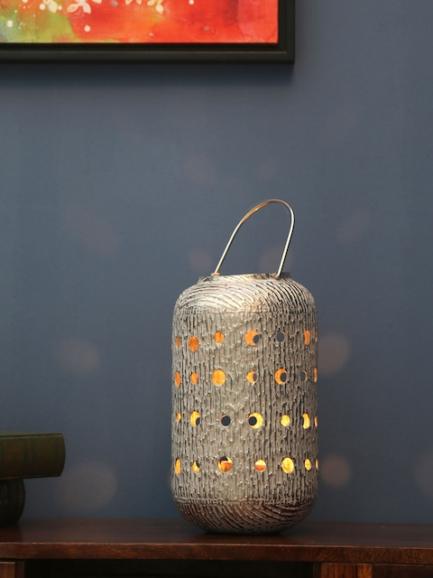 Athome by Nilkamal Silver-Toned Lantern Candle Holder