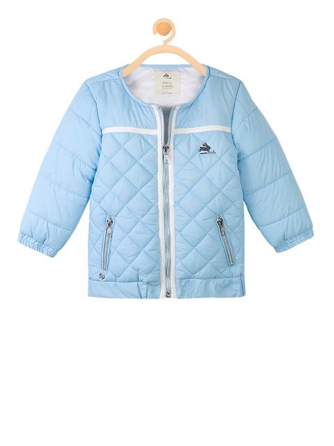 Cherry Crumble Girls Blue Solid Water Resistant Quilted Jacket