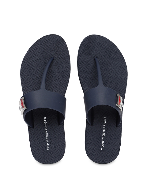 Tommy Hilfiger Women Navy Blue Solid Flip Flops