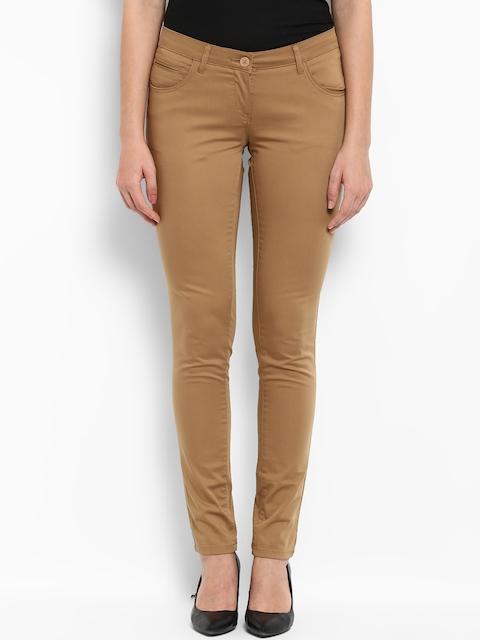 Park Avenue Women Khaki Regular Fit Solid Trousers