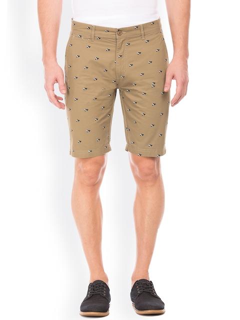IZOD Men Beige Printed Slim Fit Chino Shorts