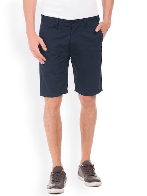 IZOD Men Navy Blue Solid Slim Fit Chino Shorts