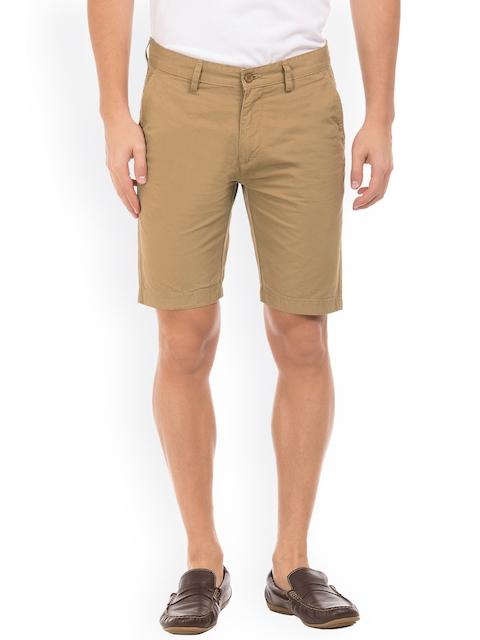 IZOD Men Khaki Solid Slim Fit Chino Shorts