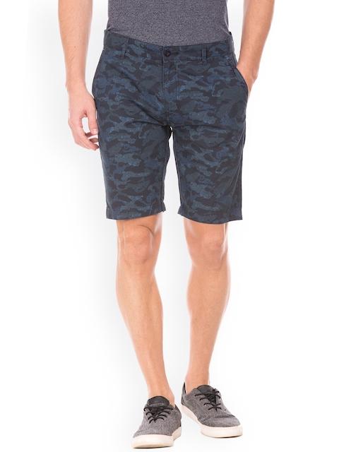 IZOD Men Navy Blue Printed Slim Fit Chino Shorts