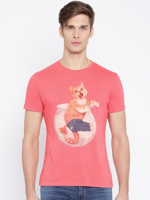 Wrangler Coral Pink Printed T-shirt