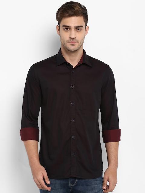 Parx Men Black & Red Slim Fit Solid Casual Shirt