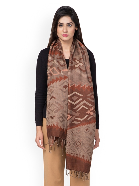 SHINGORA Women Brown Woven Design Reversible Stole