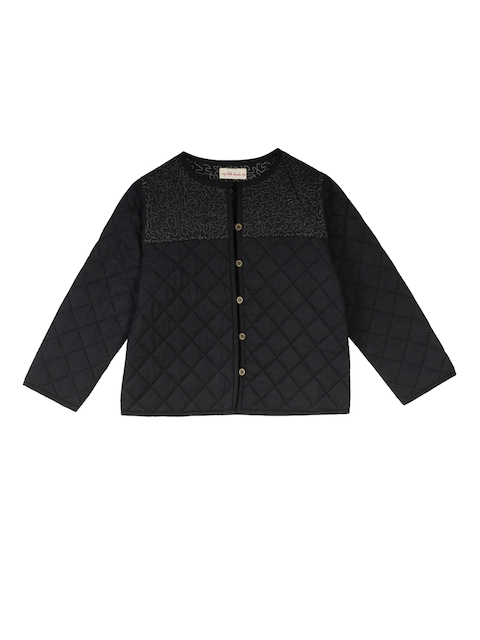 My Little Lambs Girls Black Solid Lightweight Quilted Jacket