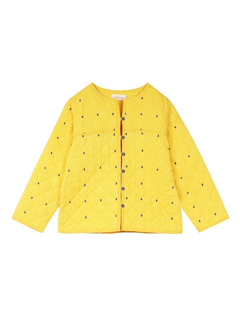 My Little Lambs Girls Yellow Solid Lightweight Quilted Jacket
