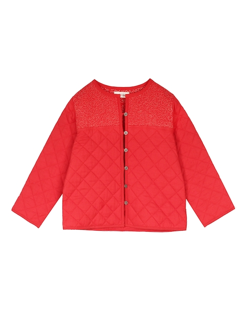 My Little Lambs Girls Red Solid Lightweight Quilted Jacket