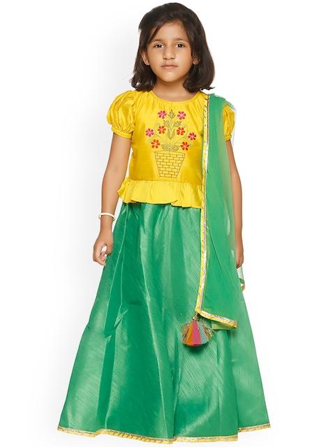 LilPicks Girls Yellow & Green Embroidered Ready to Wear Lehenga & Choli with Dupatta