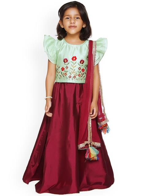 LilPicks Girls Sea Green & Burgundy Embroidered Ready to Wear Lehenga & Choli with Dupatta