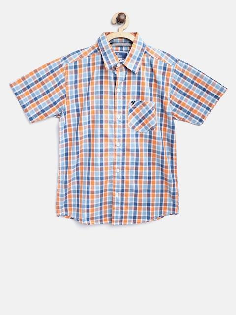 612 league Boys Blue & Orange Regular Fit Checked Casual Shirt