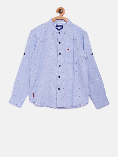612 league Boys Blue Regular Fit Checked Casual Shirt