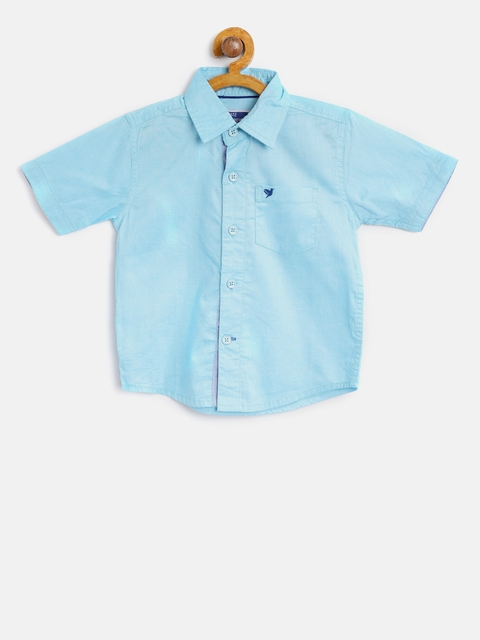 eac7f591835aeb 60%off 612 league Boys Blue Regular Fit Solid Casual Shirt