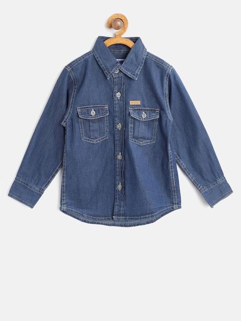 612 league Boys Blue Regular Fit Solid Denim Casual Shirt