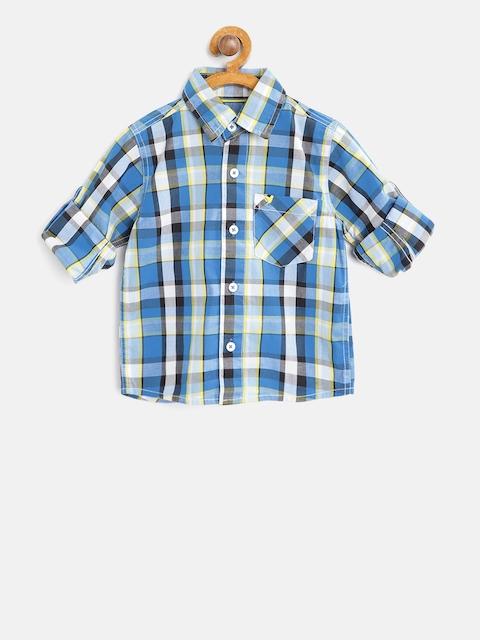 612 league Boys Blue & Black Regular Fit Checked Casual Shirt