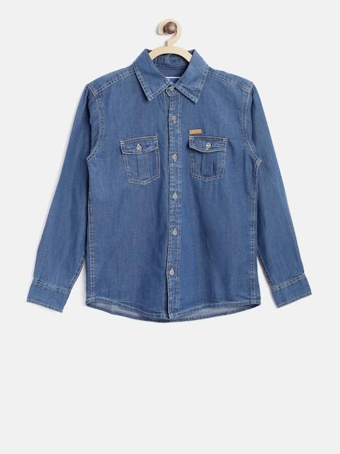 612 league Boys Blue Regular Fit Solid Denim Shirt