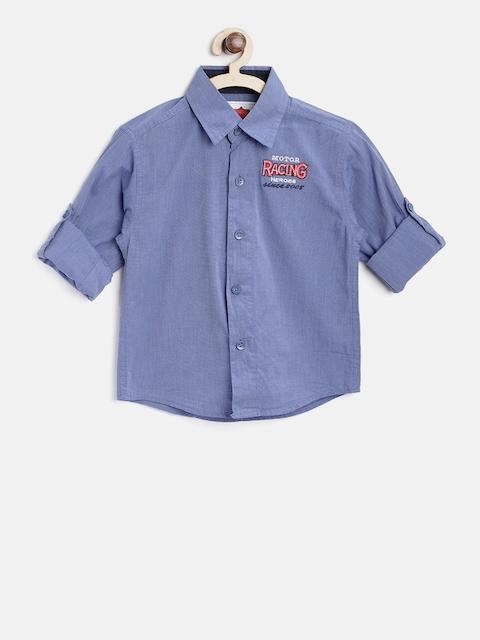 612 league Boys Blue Regular Fit Solid Casual Shirt