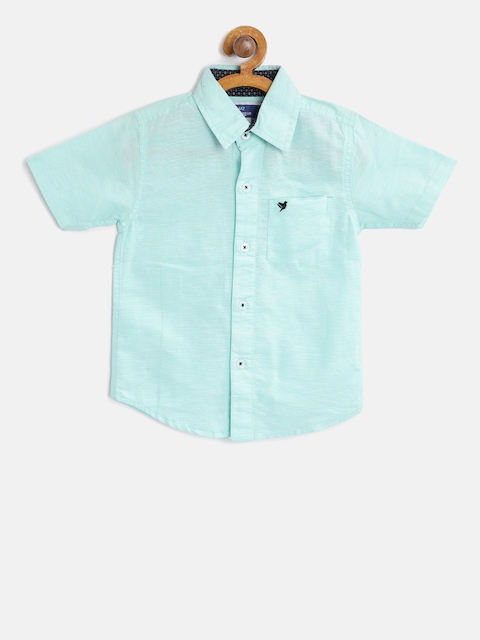 612 league Boys Mint Green Regular Fit Solid Casual Shirt