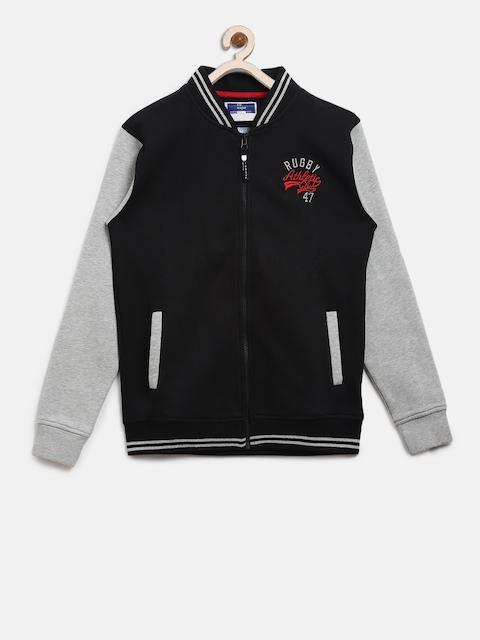 612 league Boys Black & Grey Melange Solid Varsity Jacket