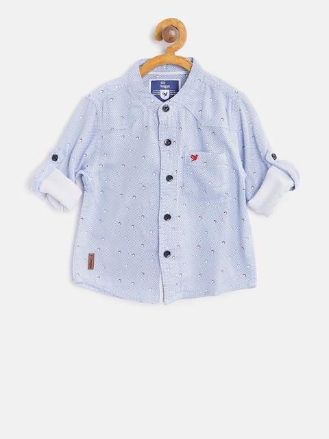 612 league Boys Blue & White Regular Fit Printed Casual Shirt