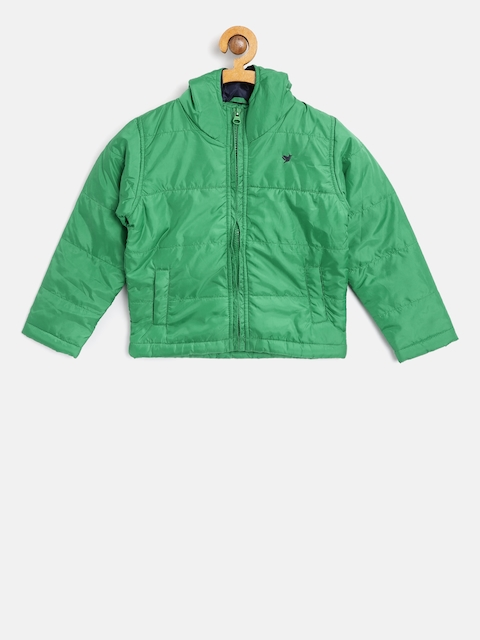 612 league Boys Green Solid Hooded Padded Jacket