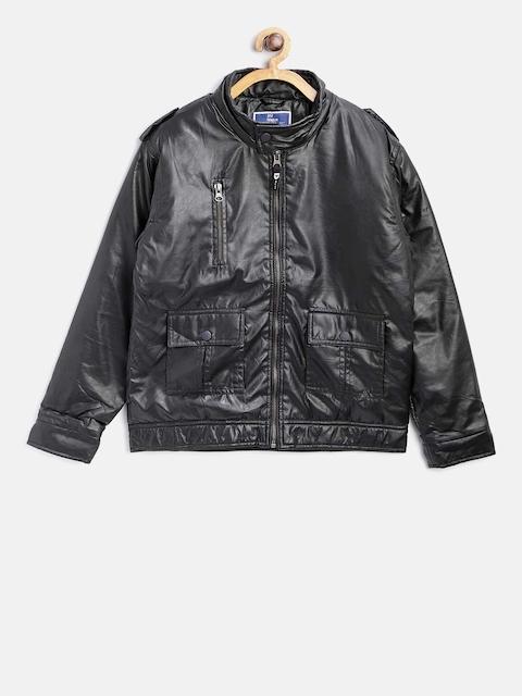 612 league Boys Black Solid Biker Jacket