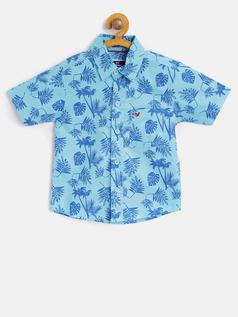 612 league Boys Blue Regular Fit Printed Casual Shirt